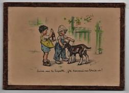 Gravure Ancienne Sous Verre Germaine Bouret Donne-moi Ta Biquette, J'te Donnerai Mon Litre De Vin! - Bouret, Germaine