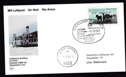 Germany: FFC First Flight Card, 1987, 1 Stamp, Lufthansa Embraer EMB 120, Dusseldorf-Linz Austria (traces Of Use) - Brieven En Documenten