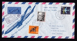 Germany: FFC First Flight Cover 1965, 3 Stamps, Lufthansa Athens-Karachi-Bangkok-Singapore-Darwin-Sydney (traces Of Use) - Brieven En Documenten