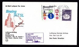 Germany: FFC First Flight Cover, 1980, 2 Stamps, Lufthansa Boeing 747 Rio Janeiro-Sao Paulo-Buenos Aires (traces Of Use) - [7] West-Duitsland