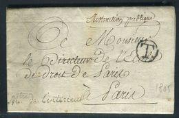 France - Lettre Avec Texte Du Ministère De L 'Intérieur Pour Paris En 1805 , Griffe Du Ministère - Ref N 207 - 1801-1848: Precursors XIX