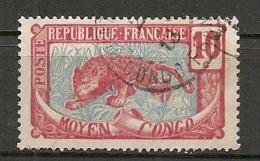 CONGO - Yv. N° 52  (o)  10c  Panthère  Cote 0,8 Euros  BE - Congo Français (1891-1960)