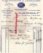 87- LIMOGES- FACTURE G. MARNIERES-E. BARRAU- ETS. CHAPELLERIE-FEUTRE PAILLE- CASQUETTE- PANAMA-7 RUE HAUTE VIENNE- 1929 - Textile & Vestimentaire