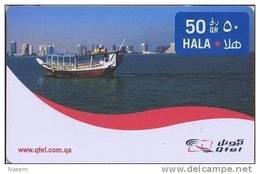 Qatar Hala Phone Card, Corniche Sea View, Boats & Buildings, (50 Rls.) - Qatar
