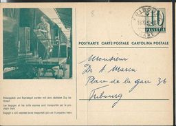 Carte De Service  Chemins De Fer SBB-CFF. N° Zumstein 2009 N° 54a. - 019  Obl: Fribourg - Gare 18/11/1959 - Enteros Postales