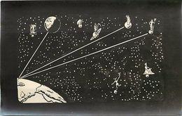 - Themes Divers -ref U502-dessin A La Plume -support Souple Format Carte Postale -espace - Planetes  Lointaines- Astres- - Espace