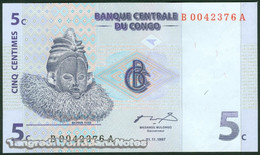 TWN - CONGO DEM. REP. 81a - 5 Centimes 1.11.1997 B-A (G&D) UNC - Repubblica Democratica Del Congo & Zaire