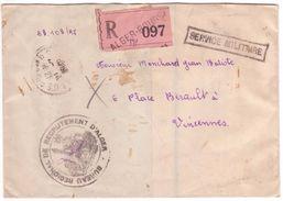 Rare Pli Recommandé Franchise Militaire Alger Algérie 1948 étiquette Rose OPR Fabrication Locale ! - Lettres & Documents