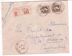 Algérie Lettre Recommandée SETIF CONSTANTINE Paire Du 4F50 Marianne D'Alger (Fernez) étiquette Locale - Lettres & Documents