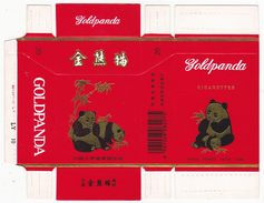 Panda - Giant Panda, GOLDPANDA Cigarette Box, Hard, Red, Horizontal, Taiyuan Cigarette Factory, Shanxi, China - Empty Cigarettes Boxes