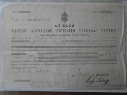 AV507 Première Compagnie D'assurance Générale Hongroise à Pest -János Fisher GYÖR 1865 700 Frt - Austria