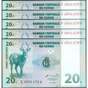 TWN - CONGO DEM. REP. 83a - 20 Centimes 1.11.1997 DEALERS LOT X 5 D-K (ATB) UNC - Congo