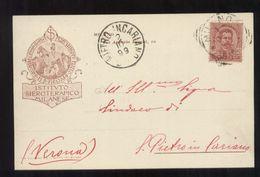 MILANO - 1899 - CARTOLINA INTESTATA DELL'ISTITUTO SIEROTERAPICO MILANESE - Pubblicitari