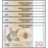 TWN - CONGO DEM. REP. 84A - 50 Centimes 1.11.1997 DEALERS LOT X 5 E-Y (ATB) UNC - Congo