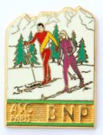Superbe Pin's Doré Or Fin BNP - ASC PARIS - Le  Ski De Fond - Zamac - Ballard - G1010 - Banks