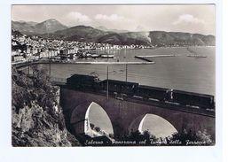 SALERNO - PANORAMA COL TUNNEL DELLA FERROVIA TRENO - EDIZ. CATANEO 1954 (1386) - Salerno