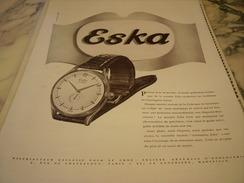 ANCIENNE PUBLICITE MONTRE  PARTOUT DANS LE MONDE L HEURE  ESKA - Bijoux & Horlogerie