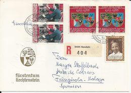 ENVELOPPE LIECHTENSTEIN AVEC 5 TIMBRES ET VIGNETTE R 9485 404 ANNEE 1989 - Covers & Documents