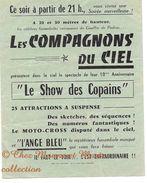 FUNAMBULES LES COMPAGNONS DU CIEL LE SHOW DES COPAINS - L ANGE BLEU - TARN ET GARONNE - AFFICHETTE PUBLICITAIRE - Publicidad