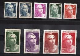 1945/47 - N° 725 à 733 - Neufs ** - Marianne De Gandon - France