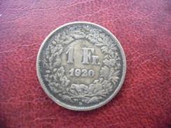1 FRANC SUISSE 1920 En Argent @ CONFEDERATION HELVETIQUE @ Voir Les 2 Photos - Suiza
