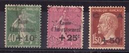 1929 - N° 253 à 255 - Caisse D'Amortissement - France