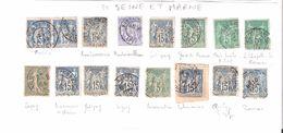 Type SAGE , Lot De 16 Timbres Tous Obl Cachets De La SEINE ET MARNE Dont Facteurs Boitiers  ,B TB - Storia Postale (Francobolli Sciolti)