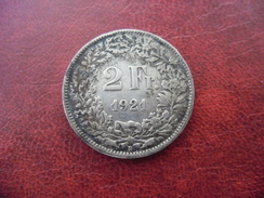 2 FRANCS SUISSE 1921 En Argent @ CONFEDERATION HELVETIQUE @ Voir Les 2 Photos - Suiza
