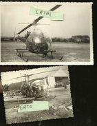 2 Photos   Alouette  Octobre 1958 Guerre D Algerie 15 X 10 Cm Et 8 X 10.5 Cm - Aviation