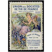 France WWI Union Des Societes De Tir De France Stamps Vignette Poster Stamp - Military Heritage