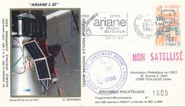 Space FRANCE 25.5.1980 Ariane L-2 ! Failed Launch KOUROU Guyane ESA CNES Cover. Backside: Text On Satellite OSCAR-9 - Briefe U. Dokumente
