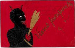 CPA Diable Devil Krampus  Circulé Gaufré - Glaube, Religion, Kirche