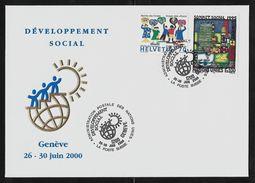 2000 Joint Gemeinschaftsausgabe Schweiz UNO Genf, COMBO BRIEF BEIDE MARKEN: Sozial Gipfel - Gezamelijke Uitgaven