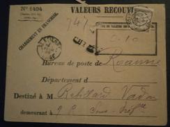 FRANCE TIMBRE TAXE BANDEROLE DUVAL 29 LETTRE ENVELOPPE PLI ENV ROANNE SAINT ETIENNE LOIRE VALEURS RECOUVREES 1494 - Taxes