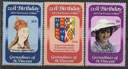 1982 SAINT VINCENT Grenadines 243-45** Diana, Armoirie - St.Vincent & Grenadines