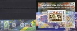 CEPT 1956-2006 Salomon 1224/5 ZD, Georgia Bl.36 ** 10€ Belgica 1043 E 1808 Hb Bloc S/s Se-tenant Bf Stamp On Stamps - Salomon (Iles 1978-...)