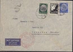 """DR 522, 525, 537 MiF Auf Luftpostbrief Mit Stempel: Deutsche Luftpost Europa-Südamerika """"b"""", Hamburg 19.4.1939 - Luftpost"""