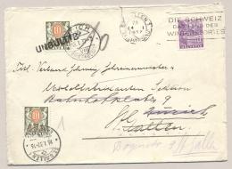 Schweiz - 1937 - 10 Porto UNGULTIG & 10 C Porto On Cover St Gallen - Zürich Vv - Strafportzegels