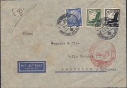 """DR 522, 535, 537 MiF Auf Luftpostbrief Mit Stempel: Deutsche Luftpost Europa-Südamerika """"c"""", München 2.2.1938 - Luftpost"""