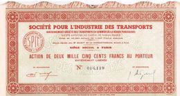 Action Ancienne - Société Pour L'Industrie Des Transports- Titre Annulé - Transports
