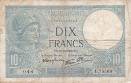 BILLETE DE FRANCIA DE 10 FRANCOS DEL 26-10-1939  (BANKNOTE) MINERVE - 1871-1952 Antiguos Francos Circulantes En El XX Siglo