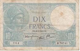 BILLETE DE FRANCIA DE 10 FRANCOS DEL 26-9-1940  (BANKNOTE) MINERVE - 1871-1952 Antiguos Francos Circulantes En El XX Siglo