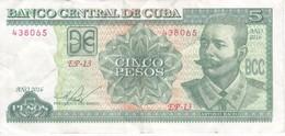 BILLETE DE CUBA DE 5 PESOS DEL AÑO 2016 DE ANTONIO MACEO  (BANKNOTE) - Cuba
