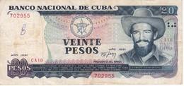 BILLETE DE CUBA DE 20 PESOS DEL AÑO 1991   (BANK NOTE)  CAMILO CIENFUEGOS - Cuba