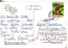 Polinesia Francese, Ananas  Val 42 F Anno 1991 Su Cartolina - Storia Postale