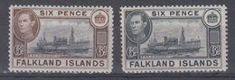 Falkland Islands 1938 Mi 86,1949 A86 Mlh - Falkland Islands