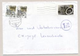 Schweiz - 1993 - 2x30c Regular Stamps Used As Portomarke On Incoming Cover From Nederland - Strafportzegels