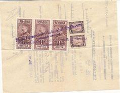 1931 Romania Aviation King Ferdinand Revenues On Receipt Oravita Banat - Rechnungen