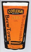 COTLEIGH BREWERY (WIVELISCOMBE, ENGLAND) - BREW TOWN 200 - PUMP CLIP FRONT - Signs