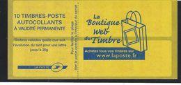 Yvert N°3744b-C2B : CARNET SAGEM MARIANNE DE LAMOUCHE. Timbres Blancs Sous U.V - Usage Courant